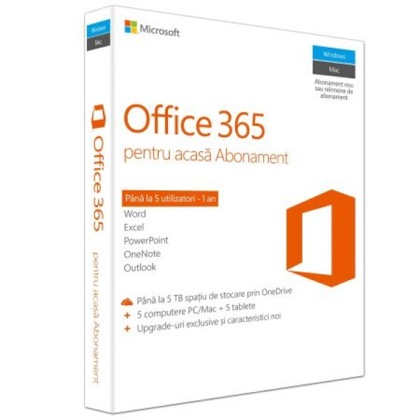 Microsoft Office 365 Home, 32/64 bit, Engleza, Subscriptie 1 an - 5 utilizatori, pentru PC/Mac, Telefon si Tableta