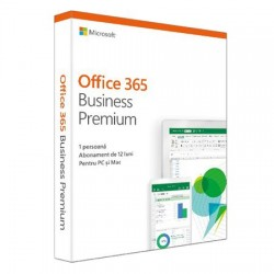 Microsoft Office 365 Business Premium, Engleza, Subscriptie 1 an - 1 utilizator, pentru Windows/Mac, iOS si Android